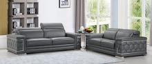 692GY-2PC 2 pc Orren ellis ferrara divanitalia gray italian leather sofa and love seat set