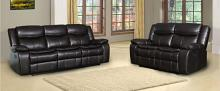 GU-6967DB-2PC 2 pc Red barrell studio brown leather aire sofa and love seat with recliner ends