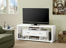 Black and white finish wood modern contemporary style tv stand with open shelves and 1 drawer