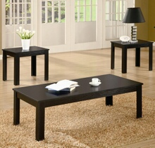 3 pc black finish wood coffee and end table set