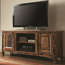 700303 Gracie oaks reclaimed wood finish tv stand console 2 side cabinets and open shelves