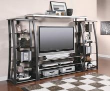 700681-82-83 4 pc Bronx ivy mineola matte black finish wood tv stand entertainment center wall unit