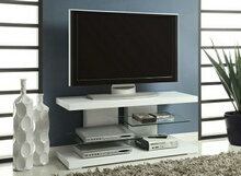700824 Orren ellis zarrukh glossy white finish wood modern tv stand with open glass shelves