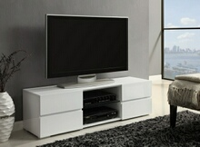 700825 Wade logan kenilworth glossy white finish wood modern tv stand