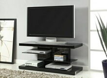 700840 Wildon home orren ellis glossy black finish wood style tv stand with open glass shelves