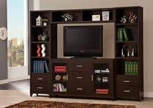 700881-82-83 4 pc Orren ellis brookins espresso finish wood tv stand entertainment center wall unit