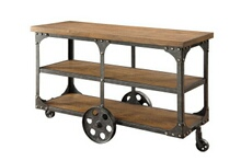 Coaster 701129 Rustic triple decker wagon brown finish wood and rustic metal cart style wheels country finish sofa table
