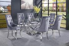 Acme 70140-43 7 pc Dekel modern glam chrome metal and clear glass top dining table set grey chairs