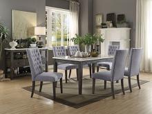 Acme 70165-68 7 pc Merel white marble top gray oak finish wood dining table set