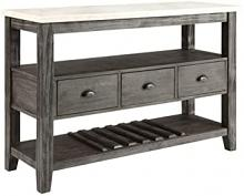 Acme 70169 Merel white marble top gray oak finish wood server hall console buffet table