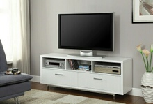 White finish wood modern contemporary style tv stand with open shelves and 2 drawers