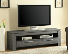 701979 Weathered grey finish wood contemporary style tv stand with open shelves and 2 drawers