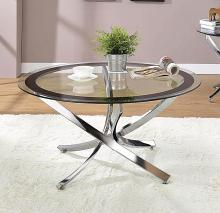702588 Wildon home yorkville round chrome and black finish metal and glass coffee table