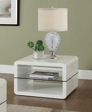 703267 Albano rounded cube design glossy white and glass end table