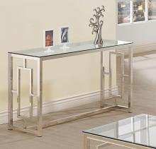 703739 WIlla arlo interiors danberry chrome finish metal and glass sofa entry console table