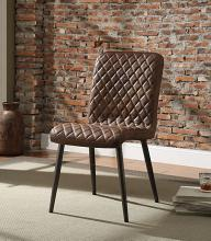 Acme 70423 Set of 2 Millerton vintage chocolate top grain leather mid century modern dining chairs