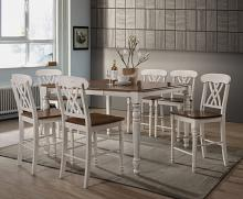Acme 70430-32 7 pc dylan buttermilk and oak finish wood counter dining table set