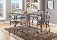 Acme 70465-67 5 pc Kaelyn II gray oak finish wood sandy gray metal frame counter height dining table set