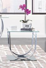 704987 Wildon home orren ellis chrome finish metal and glass end table arched base