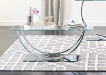 704988 Wildon home orren ellis chrome finish metal and glass coffee table arched base