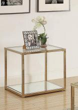 705237 Calantha modern chocolate chrome finish metal and glass end table