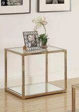 705237 Wildon home orren ellis chocolate chrome finish metal glass top end table