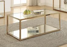 705238 Calantha modern chocolate chrome finish metal and glass coffee table