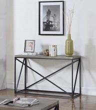 705619 Gracie oaks mckay sonoma grey finish wood and black finish metal frame sofa table