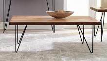 707758 Bronx ivy penitas natural honey live edge black finish metal coffee table