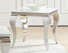 707767 Wildon home chrome finish and beveled white glass top end table