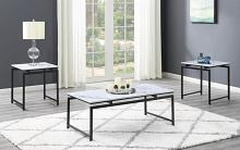 708153 3 pc Porch & Den fulmar white faux marble dark gunmetal frame coffee and end table set