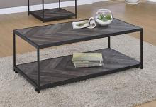 708168 Union rustic rosevale grey finish wood and black finish metal frame coffee table