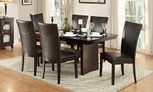 Homelegance 710-72TR-S-7PC 7 pc Canora grey Daisy espresso finish wood dining table set with glass top inserts