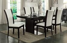 Homelegance 710-72TR-SW-7PC 7 pc Canora grey Daisy espresso finish wood dining table set with glass top inserts