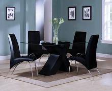 Acme 71110-12 7 pc Pervis black finish wood black faux leather glass top dining table set