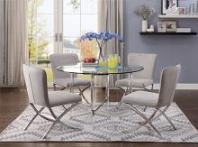 Acme 71180-82 5 pc Daire chrome clear glass top acrylic legs round dining table set