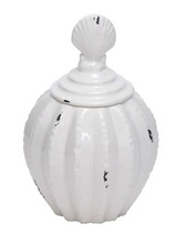 Unique and Beautiful Ceramic Jar in Glossy White Finish