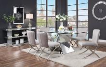 Acme 71280-71182 7 pc Noralie mirrored faux diamond metal and glass top dining table set