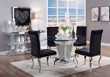"Acme 71285-62072 5 pc Noralie mirrored faux diamond metal and 52"" round glass top dining table set"