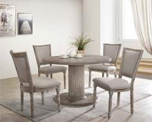 "Acme 71725-60172 5 pc Gabrian reclaimed gray finish wood 47"" Dia. round dining table set"
