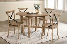 "Acme 71775-77 5 pc kendric rustic oak finish wood 47"" round dining table set"