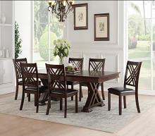Acme 71855-57 7 pc katrien espresso finish wood trestle base dining table set