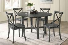 "Acme 71895-97 5 pc kendric rustic gray finish wood 47"" round dining table set"
