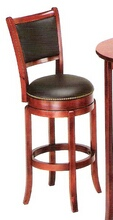 New cherry finish wood bar stool with back and black leather like vinyl swivel seat and brass pin trim