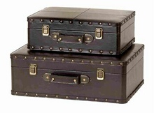 WOOD LEATHER BOX S/2 A SET OF TWO BOXES