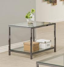 720227 Wade logan black nickel finish metal and glass end table