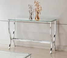 720339 WIlla arlo interiors anndale chrome finish metal and glass sofa entry console table