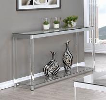 720749 Mercury row benter chrome metal and clear acrylic sofa entry console table