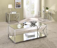 720794 3 pc Wildon home orren ellis chrome finish metal mirror top coffee and end table set