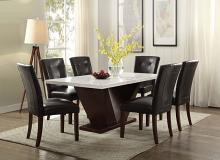 Acme 72120-07054 7 pc Forbes white marble top walnut finish wood dining table set